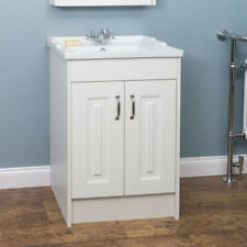600mm Traditional Bathroom Vanity Unit Basin Sink 1 Tap Hole Floorstanding White