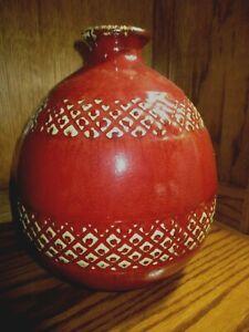 "Vtg Large Burgundy w/Gold Trim Pottery Floor Vase H=10"" W=7.5"" Home Decor    520"
