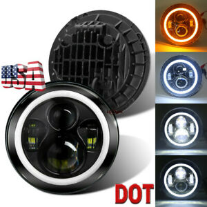 DOT 7 inch Round LED Headlight /w Halo Angle Eyes Fit For Jeep Wrangler JK LJ TJ