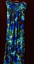 MAXI DRESS NEW Sz 16 BLUE FLORAL, strapless, shelf bra, lined, ruched bodice