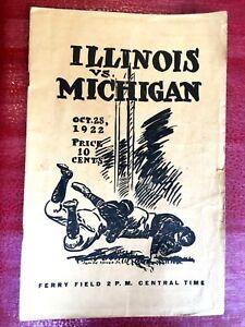 Spectacular Vintage 1922 Michigan Wolverines v Illinois College Football Program
