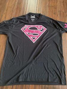 Under Armour Mens Black Alter Ego Superman HeatGear Loose Fit T Shirt Large Pink