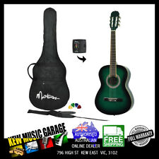 MARTINEZ 3/4 SIZE SLIM NECK CLASSICAL GUITAR PACK WITH BUILT IN TUNER GREENBURST