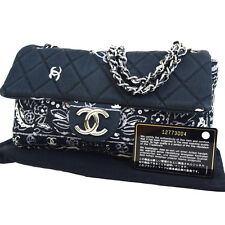Auth CHANEL CC Camellia Quilted Chain Shoulder Bag Canvas Black Italy 22V400