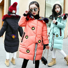 Girls Kids Padded School Warm Winter Coat Jacket Colour Fur Hooded Long Parka