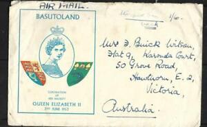 BASUTOLAND, QE11 1953 CORONATION FDC, TO AUSTRALIA.9 STAMPS USED ON BACK.