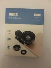 AMIR 3 in 1 Cell Phone Lens 180° Fisheye + 0.4X Wide Angle 10X Macro Clip on