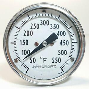 "Vintage ASHCROFT 50 - 550 Bimetal Thermometer 6"" Stem"