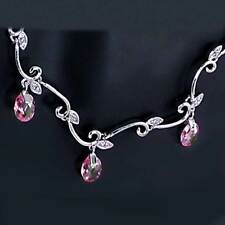 *GRACEFUL* PINK SAPPHIRE simulated / CLEAR CZ NECKLACE_SILVER