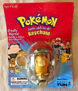 Vintage 1999 Pokemon Pokeball Keychain Basic Fun Golduck NEW UNPUNCHED CARD