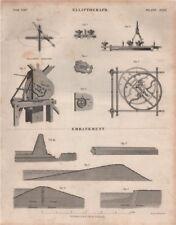 Elliptograph; Embankment; Elliptic Turning. BRITANNICA 1860 old antique print