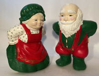 "Vintage Mr & Mrs Santa Ceramic 12"" Chunky Christmas Holiday Warming Bum by Fire"