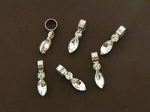 Vintage Silver Clear Glass Rhinestone Marquise & Round Prong Pendant Drop Lot