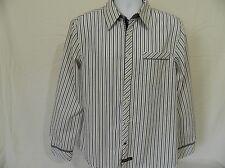 English Laundry Men's Long Long Sleeve Shirt Large White Black Flip Cuffs