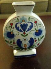 Polish Vase Lubiana Porcelain folk embroidered pattern blue Unikat Boleslawiec