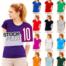 PACCO 10 MAGLIETTE COTONE DONNA STOCK Fruit of The Loom Valueweight Manica Corta