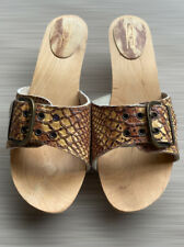 Womens Flat Brown Wooden Marco Tozzi Sandals Leather Size 8 Eu 41 Used Italian