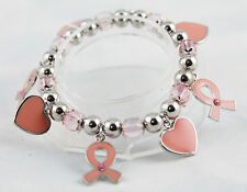 Pink & Pewter Breast Cancer Awareness Stretch Bracelet with Hearts & Ribbons 7""