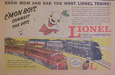1955 Lionel Electric Trains Model Railroad C'MON BOYS CONNECT The DOTS Toy Ad