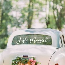 Just Married Car Window Sticker  White Wedding Windscreen Decal - easy to remove