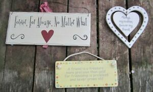 A friend is a treasure ceramic wall sign + 2 shabby chic wall decor plaques