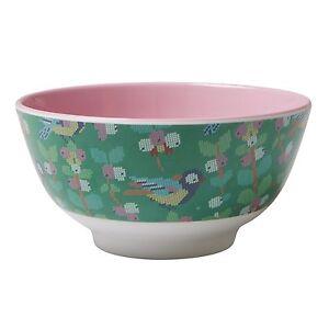 RICE Melamine bowl in vintage cross stitch bird print