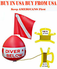 Flag Float Scuba Snorkel Dive inflatable vinyl vynl bouy buoy ball red white kit