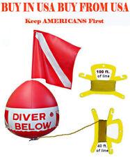 Flag Float Scuba Snorkel Dive inflatable vinyl vynl bouy buoy ball red white kit