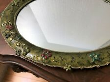 Gorgeous Vanity Mirror~High Relief Metal Frame~Enamel & Rhinestones~Great Gift!