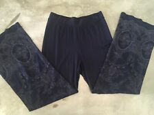 Xcvi Wide Leg Navy Pant, With Embroidery, Size S