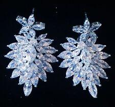 EARRING using Swarovski Crystal Dangle Drop Wedding Bridal Rhodium Silver CZ5