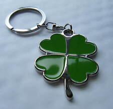 Chrome Metal Lucky 4 Leaf Clover Keyring Green Enamel Clover Key fob Brand New