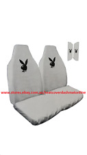 2 THROW OVER,SLIP ON, WHITE SEAT COVER BLACK PLAY BOY LOGO FIT ALL BUCKET SEAT