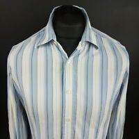 HUGO BOSS Mens Casual Shirt MEDIUM Long Sleeve Blue Regular Fit Striped Cotton