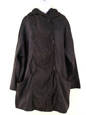 Mycra Pac Short Donatella Black Embroidered Swing Rain Coat Jacket with Hood M/L