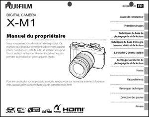 FujiFilm FinePix X-M1 Digital Camera Owner's  Manual French Language