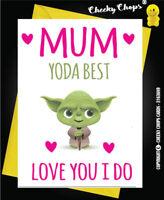 Funny Mothers Day Birthday  Card - Yoda Best Mum Love You I Do - Star Wars C98