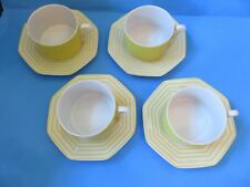 """Fitz and Floyd Vintage """"Pin Stripe"""" Yellow Coffee Cups w/Saucers Set of 4"""