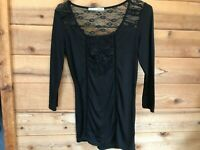 Women's Size S MAURICES  Top Blouse Mesh Lace Long Sleeve Black