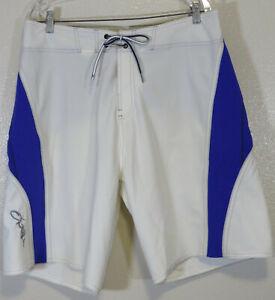 ONeill Superfreak Series Mens Sz 38 Blue White Knee Length Board Shorts