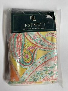 NEW Ralph Lauren TWO KING (2) Pillowcases PAISLEY Red Green Yellow Sateen