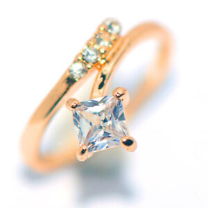 Unique Womens Square Crystal Wedding Bridal Engagement Party Ring Woman Size 6