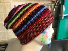 Alpaca Wool Beanie Hat  Hippy festival Hand crafted in Peru  style 7
