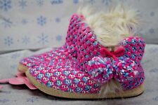 Jenni Purple Blue Boots Booties Womens Knit Slippers pink XL 11-12