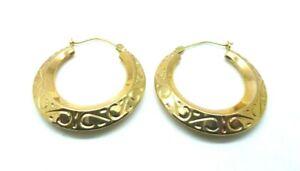 9ct Yellow Gold Vintage Victorian Style Embossed  Creole Hoop Earrings