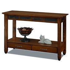 Leick Furniture 10933 Slatestone Oak Storage Console Table - Rustic Oak Finish