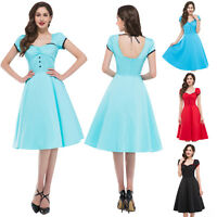 Stock Short Sleeve Hollowed Back Retro Vintage Housewife Party Picnic Dress
