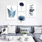 Watercolor Blue Botanical Leaf Poster Print Nordic Flowers Plant Canvas Painting