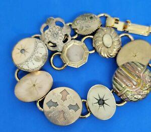 Art nouveau cufflink Bracelet : Elegant Repousse Gold Fill cufflinks  #2