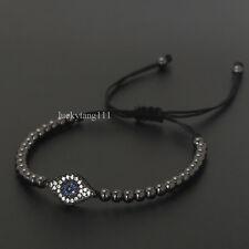 Anil Arjandas Fashion Mens Rhodium Plated Diamond Eye Beaded Macrame Bracelet